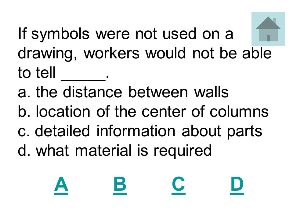 If symbols were not used on a drawing, workers would not be able to tell _____.
