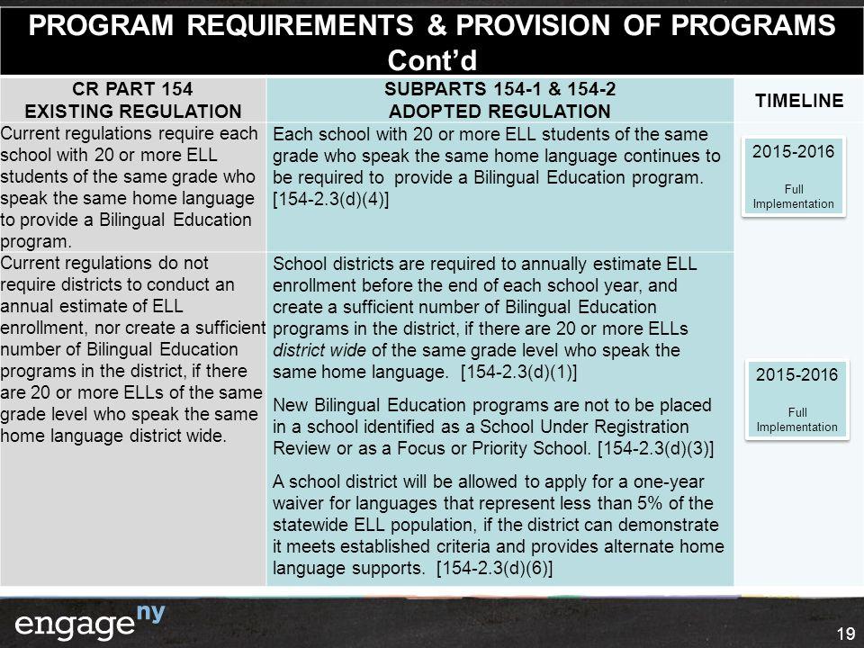 PROGRAM REQUIREMENTS & PROVISION OF PROGRAMS Cont'd CR PART 154 EXISTING REGULATION SUBPARTS 154-1 & 154-2 ADOPTED REGULATION TIMELINE Current regulat