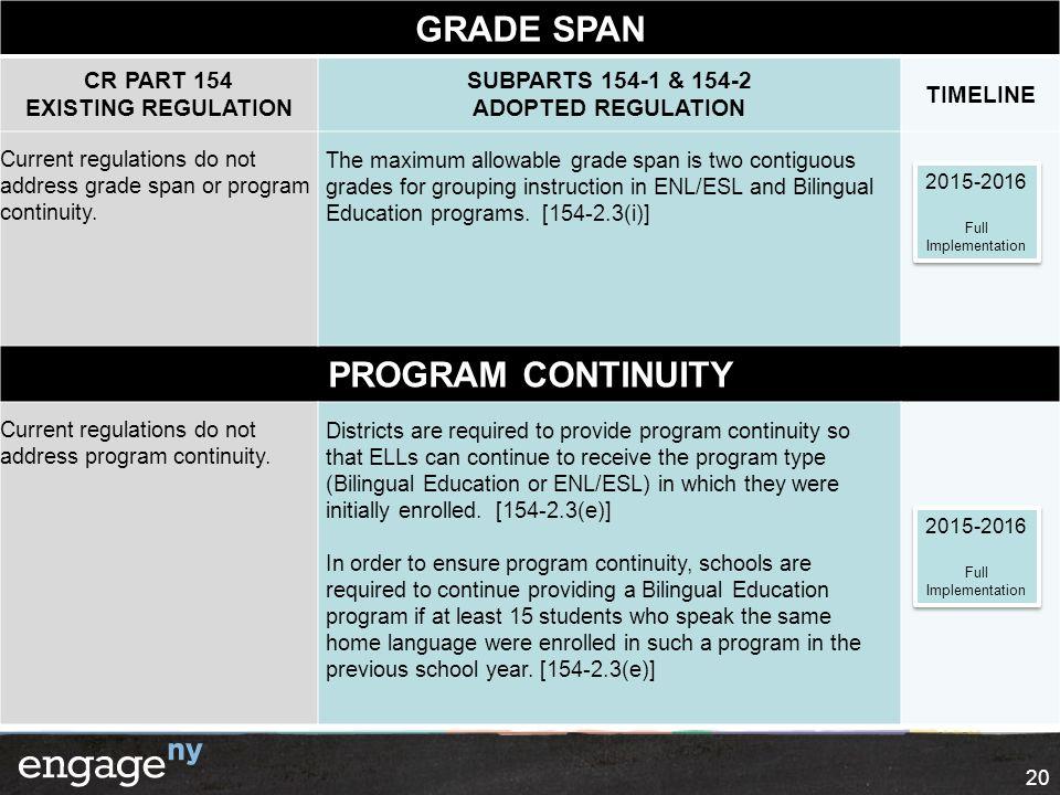 20 GRADE SPAN CR PART 154 EXISTING REGULATION SUBPARTS 154-1 & 154-2 ADOPTED REGULATION TIMELINE Current regulations do not address grade span or prog