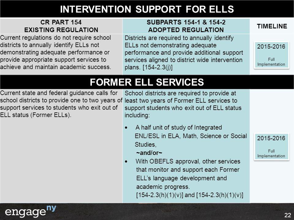 22 INTERVENTION SUPPORT FOR ELLS CR PART 154 EXISTING REGULATION SUBPARTS 154-1 & 154-2 ADOPTED REGULATION TIMELINE Current regulations do not require