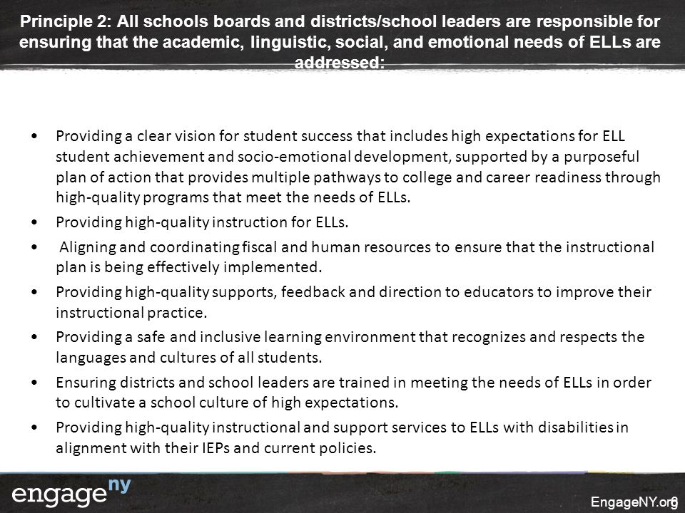 Principle 2: All schools boards and districts/school leaders are responsible for ensuring that the academic, linguistic, social, and emotional needs o