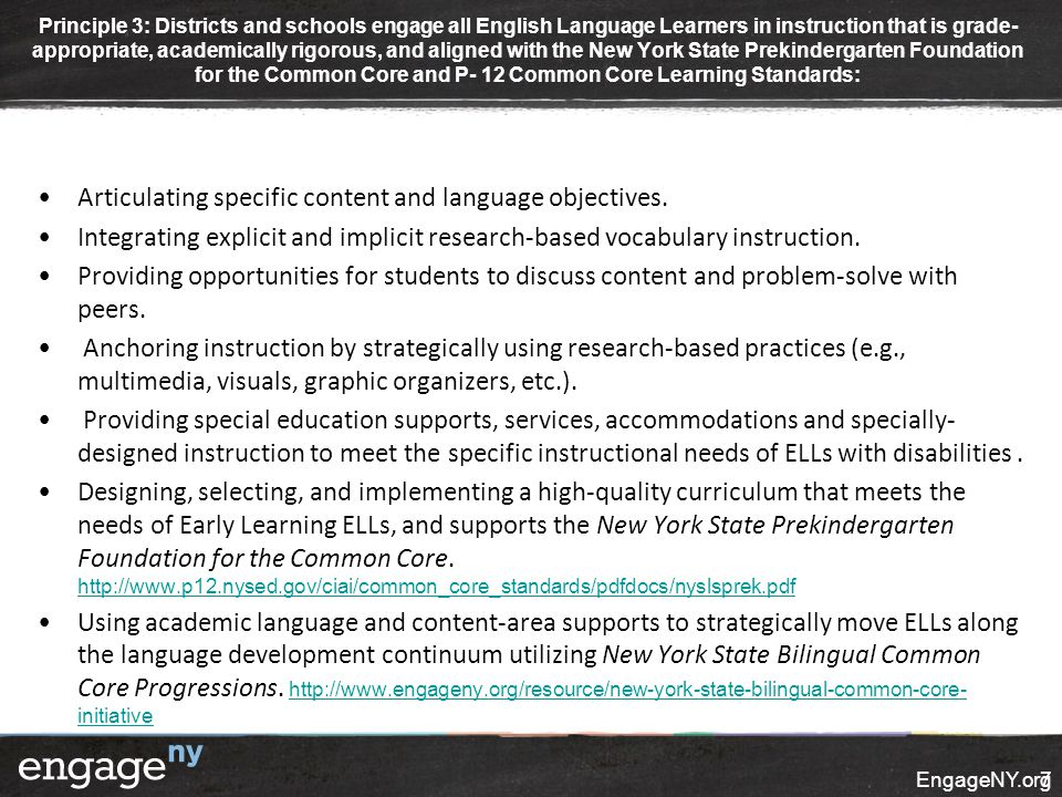 Articulating specific content and language objectives. Integrating explicit and implicit research-based vocabulary instruction. Providing opportunitie