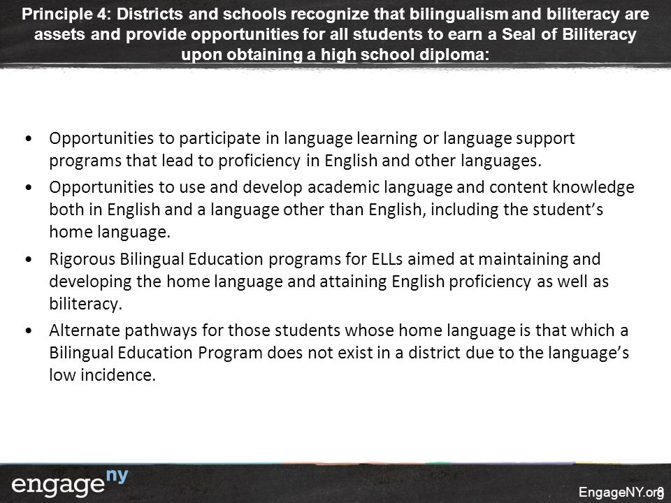 Opportunities to participate in language learning or language support programs that lead to proficiency in English and other languages. Opportunities