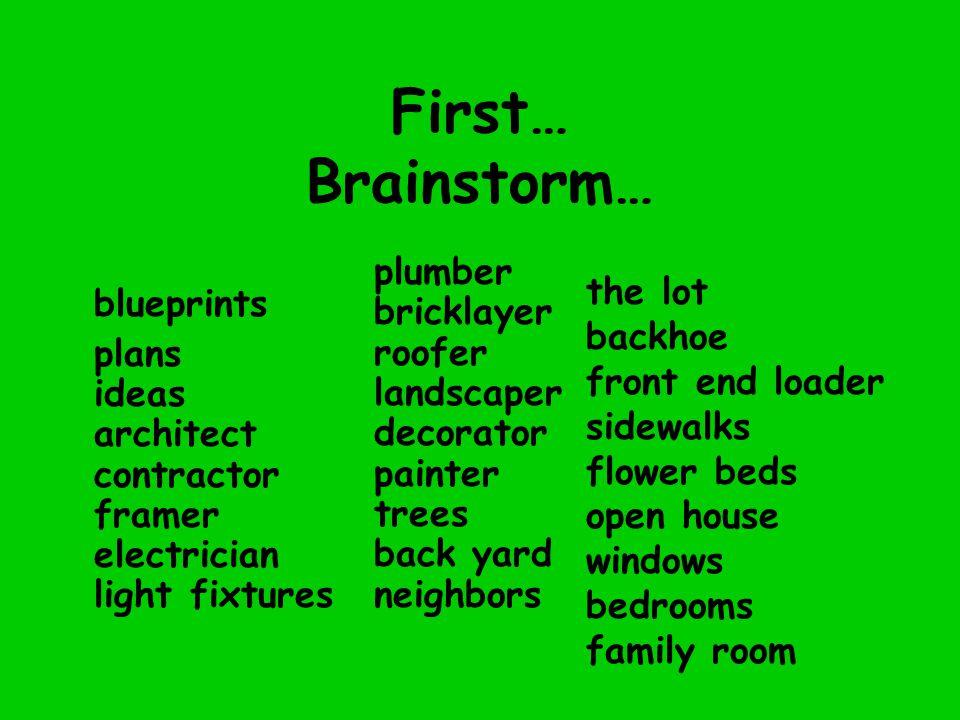 First… Brainstorm… blueprints plans ideas architect contractor framer electrician light fixtures plumber bricklayer roofer landscaper decorator painte