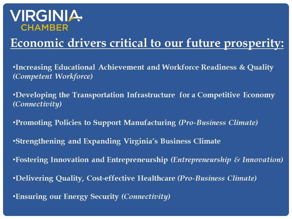 Increasing Educational Achievement and Workforce Readiness & Quality (Competent Workforce) Developing the Transportation Infrastructure for a Competitive Economy (Connectivity) Promoting Policies to Support Manufacturing (Pro-Business Climate) Strengthening and Expanding Virginia's Business Climate Fostering Innovation and Entrepreneurship (Entrepreneurship & Innovation) Delivering Quality, Cost-effective Healthcare (Pro-Business Climate) Ensuring our Energy Security (Connectivity) Economic drivers critical to our future prosperity:
