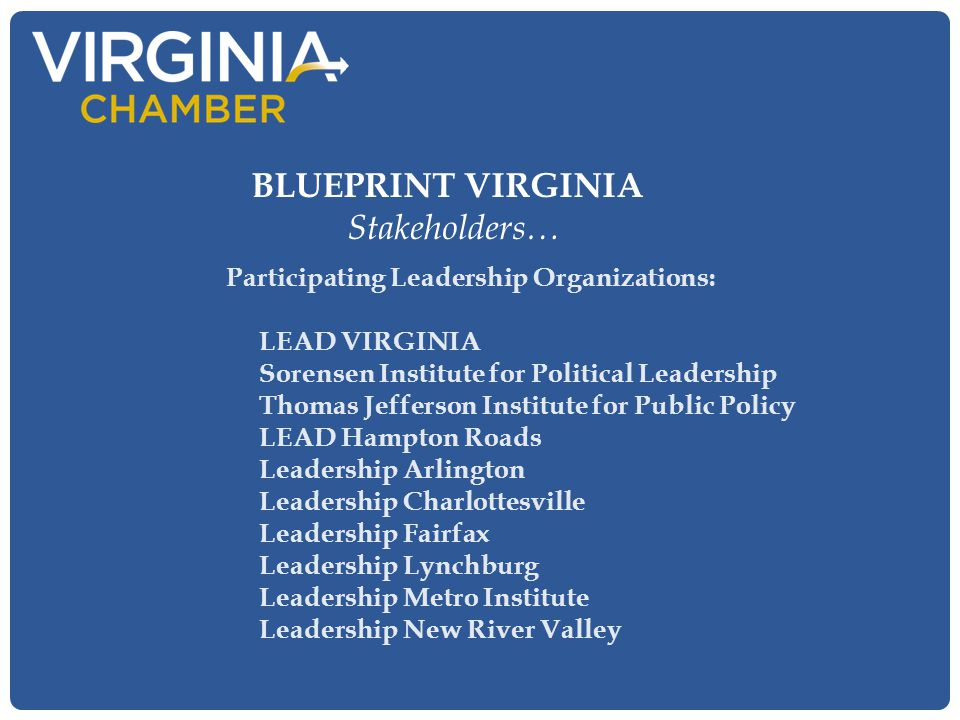 Participating Leadership Organizations: LEAD VIRGINIA Sorensen Institute for Political Leadership Thomas Jefferson Institute for Public Policy LEAD Ha