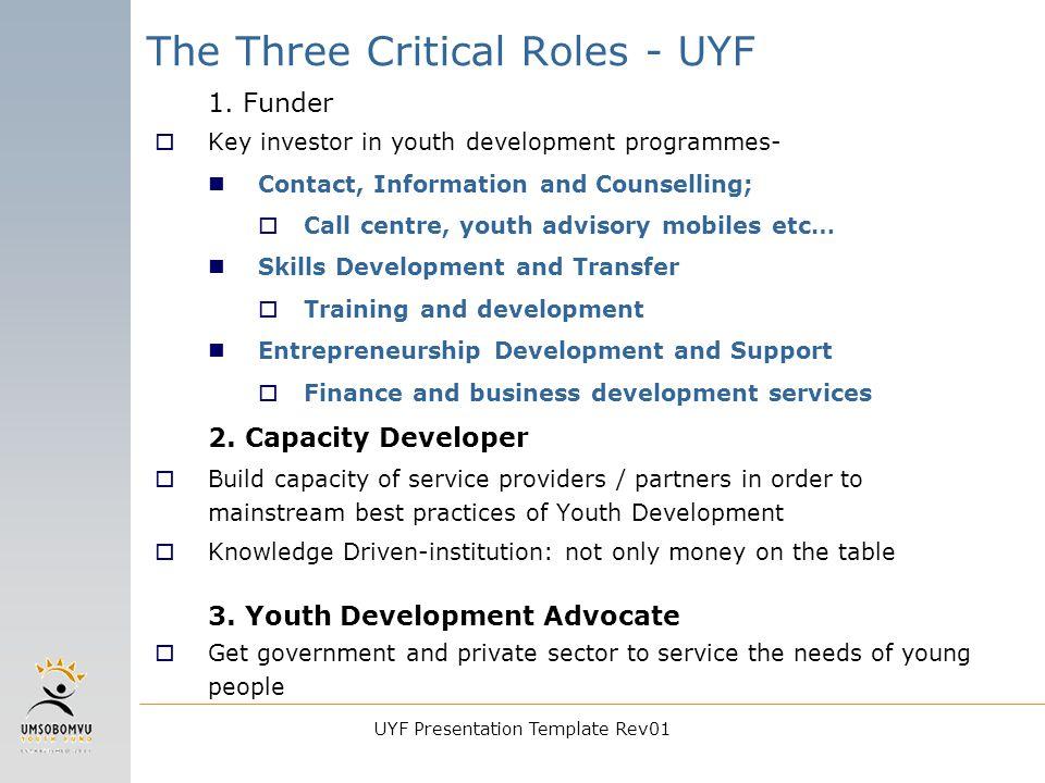 UYF Presentation Template Rev01 The Three Critical Roles - UYF 1.