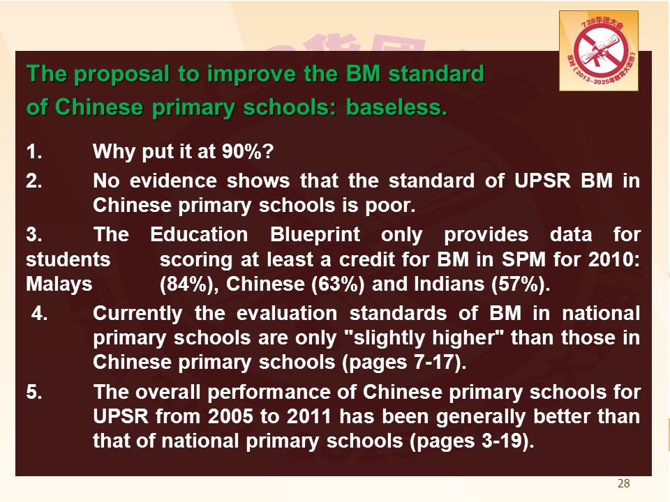 Proposal for Standard 4 students in national type primary schools to awitch to the same BM Language curriculum as National Schools is only the initial