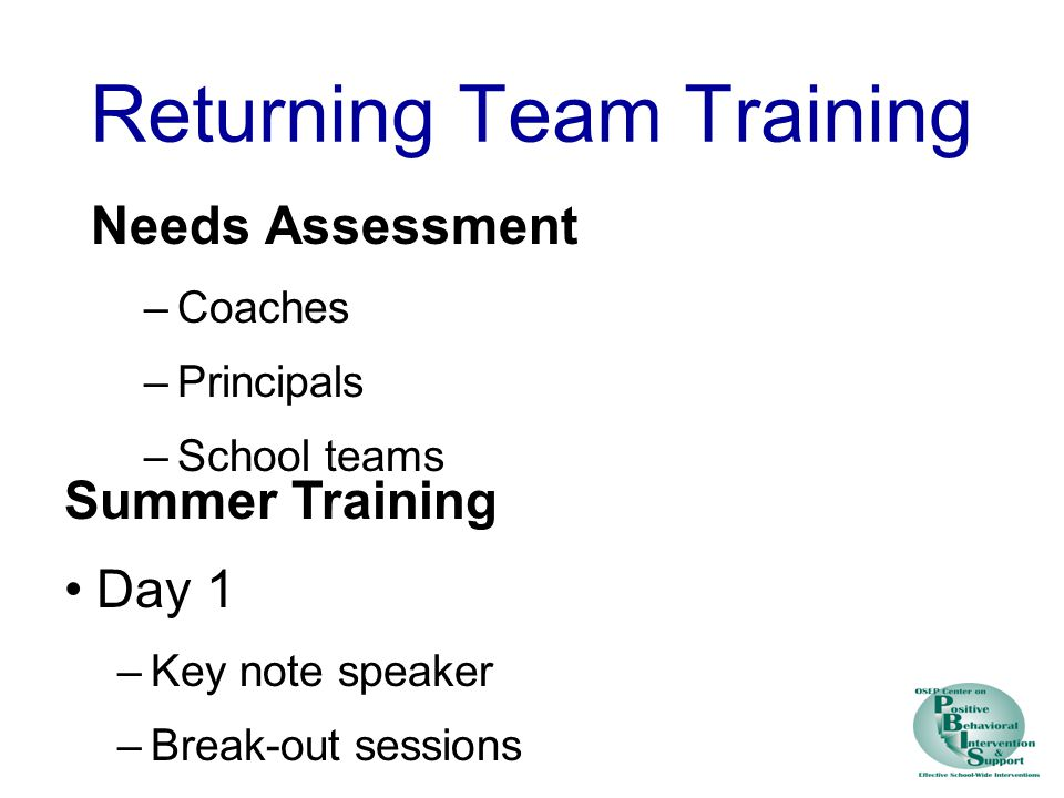 Returning Team Training Needs Assessment –Coaches –Principals –School teams Summer Training Day 1 –Key note speaker –Break-out sessions Day 2 –School team action planning