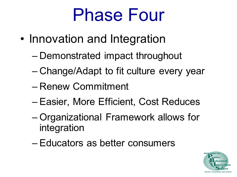 Phase Four Innovation and Integration –Demonstrated impact throughout –Change/Adapt to fit culture every year –Renew Commitment –Easier, More Efficient, Cost Reduces –Organizational Framework allows for integration –Educators as better consumers