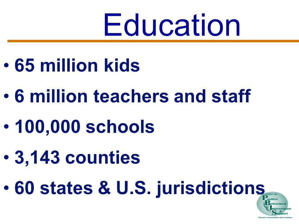 Education 65 million kids 6 million teachers and staff 100,000 schools 3,143 counties 60 states & U.S.