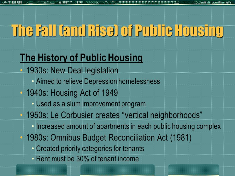 The Fall (and Rise) of Public Housing The History of Public Housing 1930s: New Deal legislation Aimed to relieve Depression homelessness 1940s: Housin