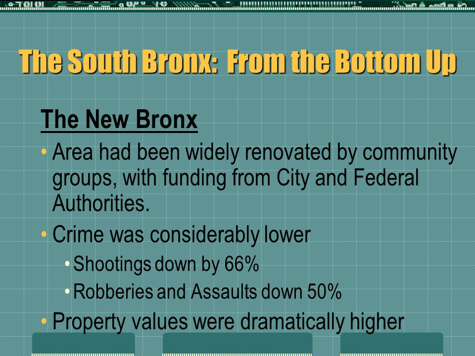 The South Bronx: From the Bottom Up The New Bronx Area had been widely renovated by community groups, with funding from City and Federal Authorities.