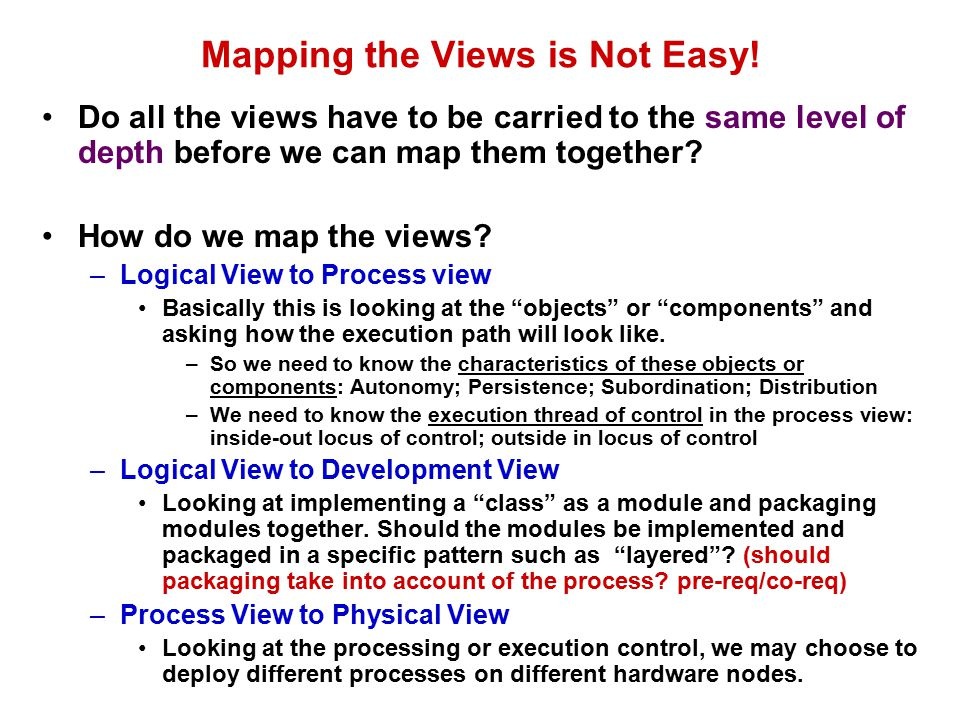Mapping the Views is Not Easy.