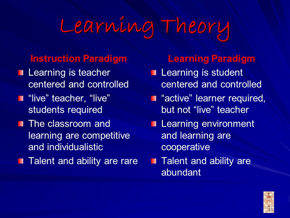 11 Learning Theory Instruction Paradigm Learning is teacher centered and controlled live teacher, live students required The classroom and learning are competitive and individualistic Talent and ability are rare Learning Paradigm Learning is student centered and controlled active learner required, but not live teacher Learning environment and learning are cooperative Talent and ability are abundant