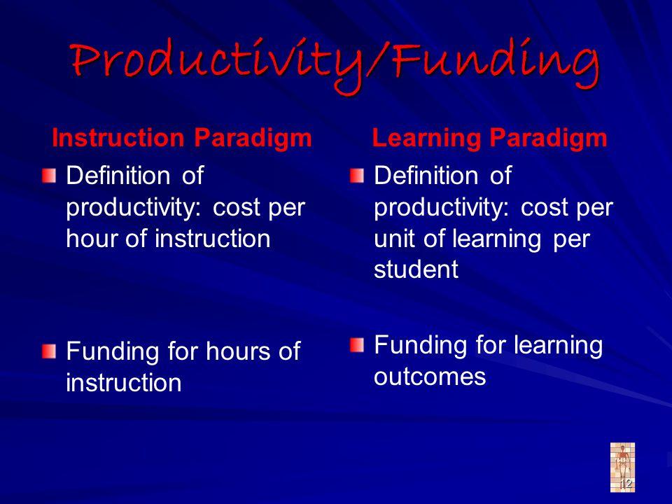 12 Productivity/Funding Instruction Paradigm Definition of productivity: cost per hour of instruction Funding for hours of instruction Learning Paradi