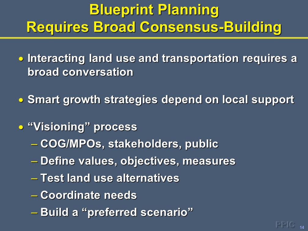 14 Blueprint Planning Requires Broad Consensus-Building  Interacting land use and transportation requires a broad conversation  Smart growth strategies depend on local support  Visioning process –COG/MPOs, stakeholders, public –Define values, objectives, measures –Test land use alternatives –Coordinate needs –Build a preferred scenario