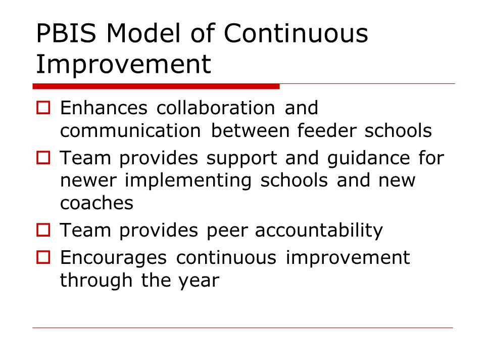 PBIS Model of Continuous Improvement  Enhances collaboration and communication between feeder schools  Team provides support and guidance for newer