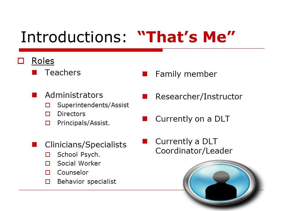 """Introductions: """"That's Me""""  Roles Teachers Administrators  Superintendents/Assist  Directors  Principals/Assist. Clinicians/Specialists  School P"""