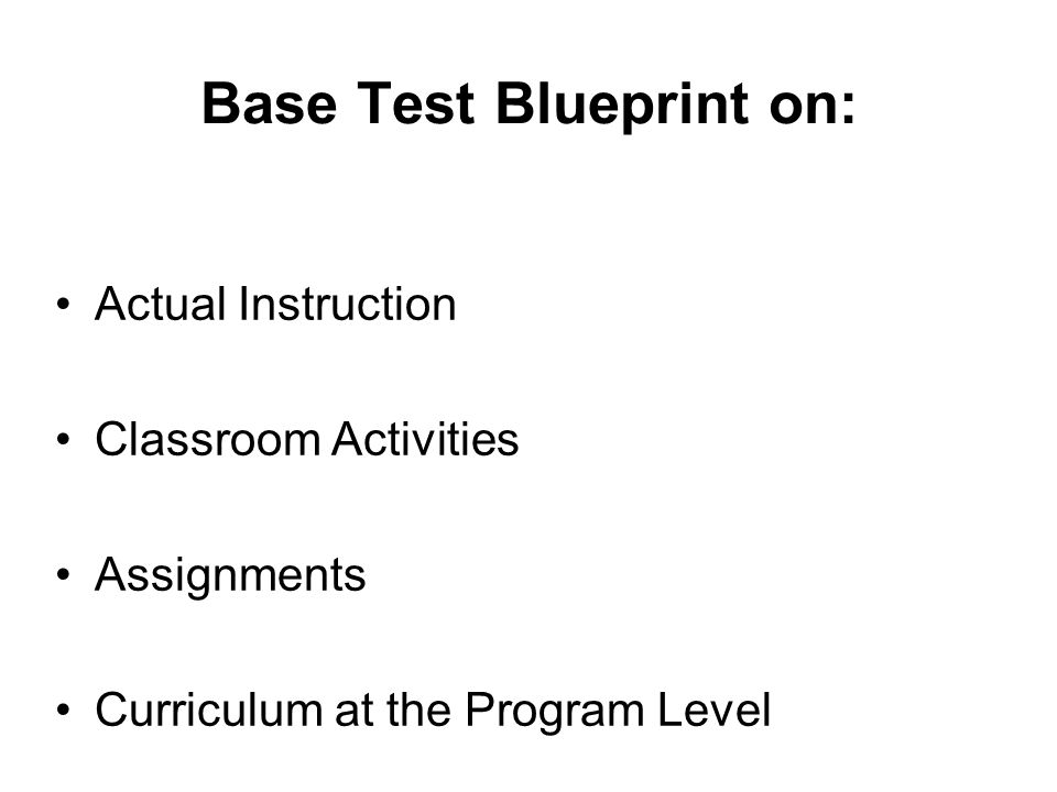 Base Test Blueprint on: Actual Instruction Classroom Activities Assignments Curriculum at the Program Level