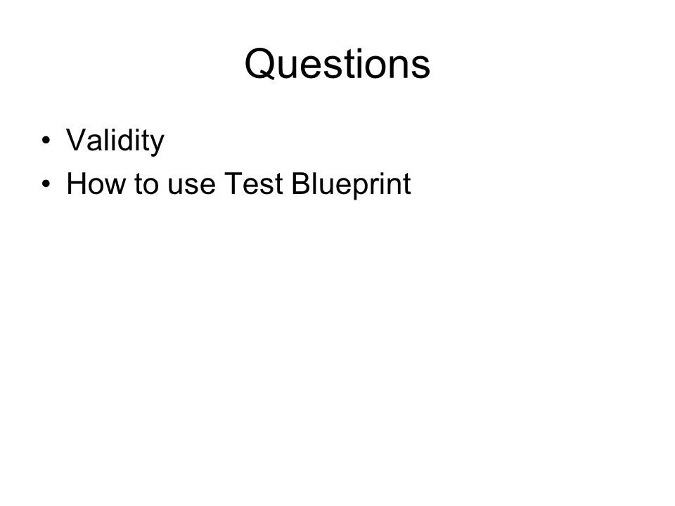 Questions Validity How to use Test Blueprint