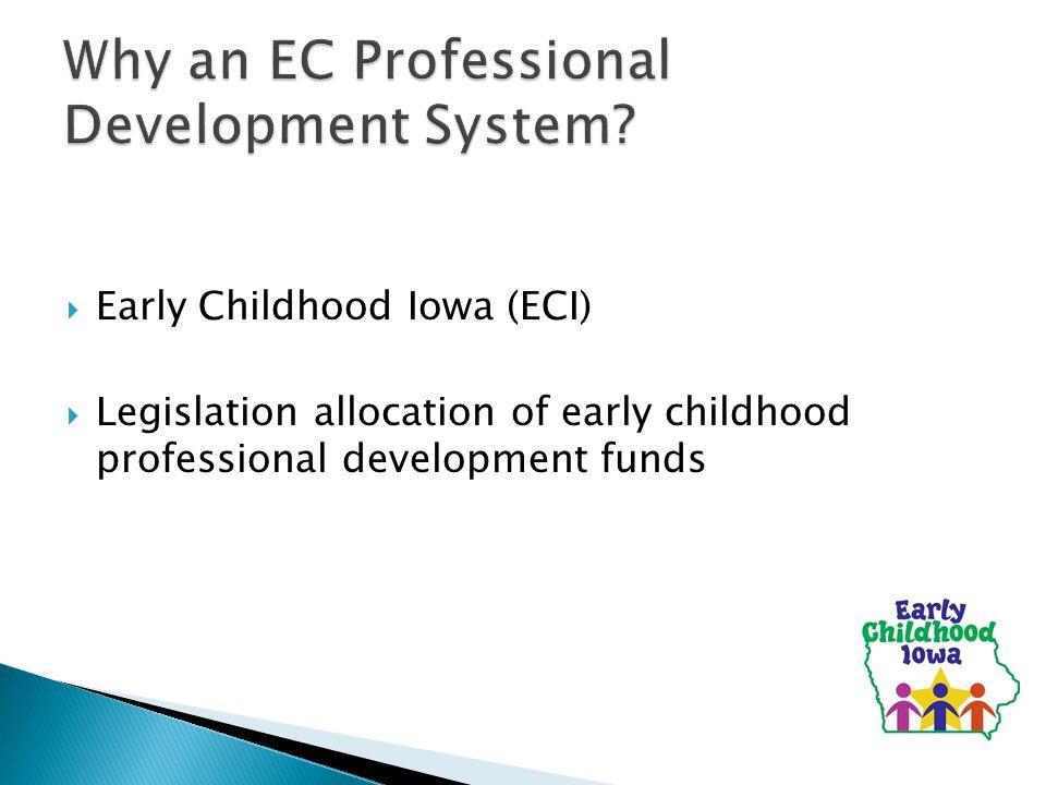  Early Childhood Iowa (ECI)  Legislation allocation of early childhood professional development funds