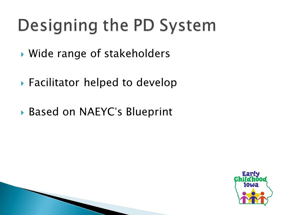 Presented by co chairs of the early childhood iowa pd executive 3 wide range of stakeholders facilitator helped to develop based on naeycs blueprint malvernweather Gallery