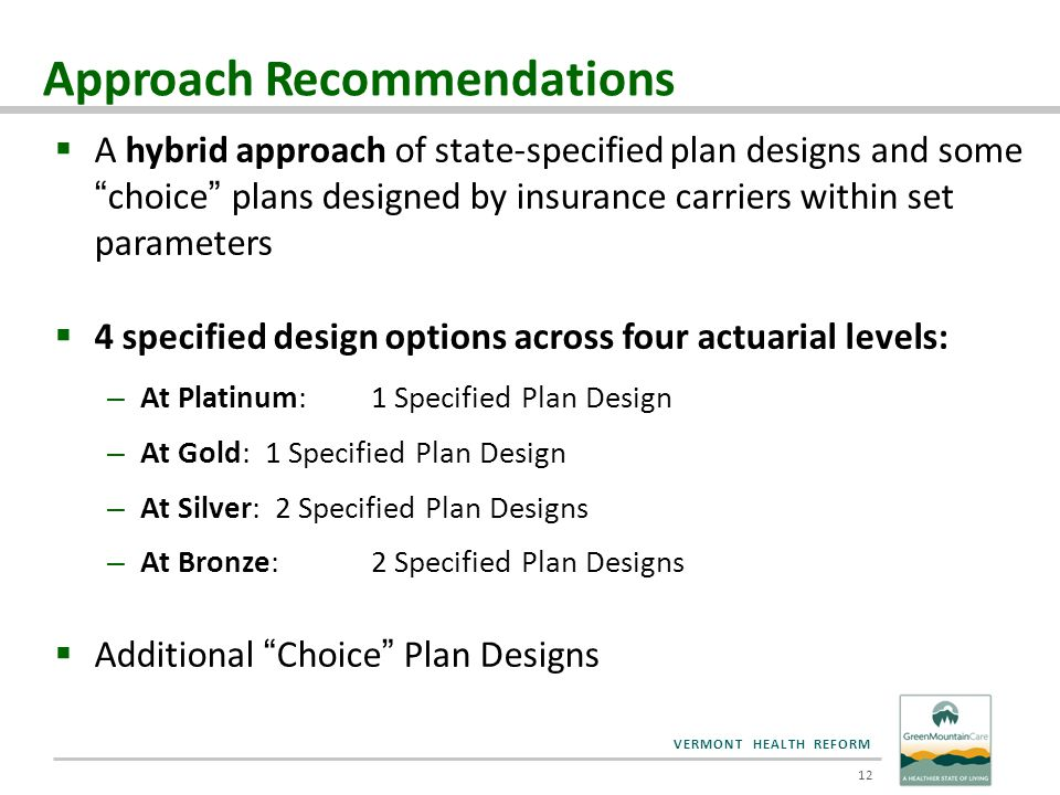 VERMONT HEALTH REFORM  A hybrid approach of state-specified plan designs and some choice plans designed by insurance carriers within set parameters  4 specified design options across four actuarial levels: – At Platinum:1 Specified Plan Design – At Gold:1 Specified Plan Design – At Silver: 2 Specified Plan Designs – At Bronze:2 Specified Plan Designs  Additional Choice Plan Designs 12 Approach Recommendations