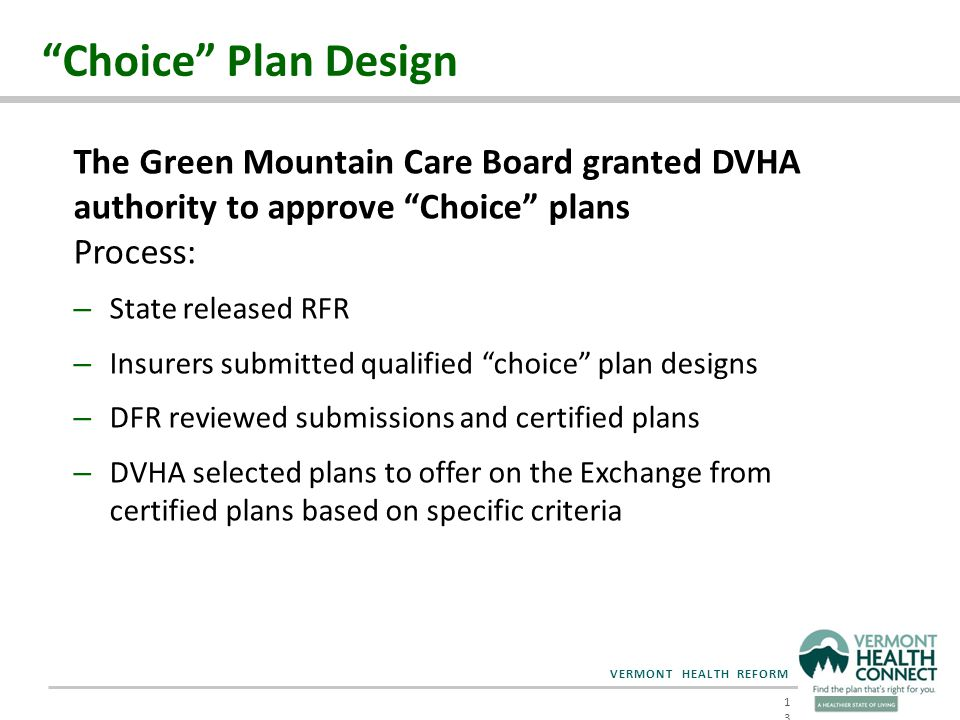 VERMONT HEALTH REFORM Choice Plan Design 13 The Green Mountain Care Board granted DVHA authority to approve Choice plans Process: – State released RFR – Insurers submitted qualified choice plan designs – DFR reviewed submissions and certified plans – DVHA selected plans to offer on the Exchange from certified plans based on specific criteria