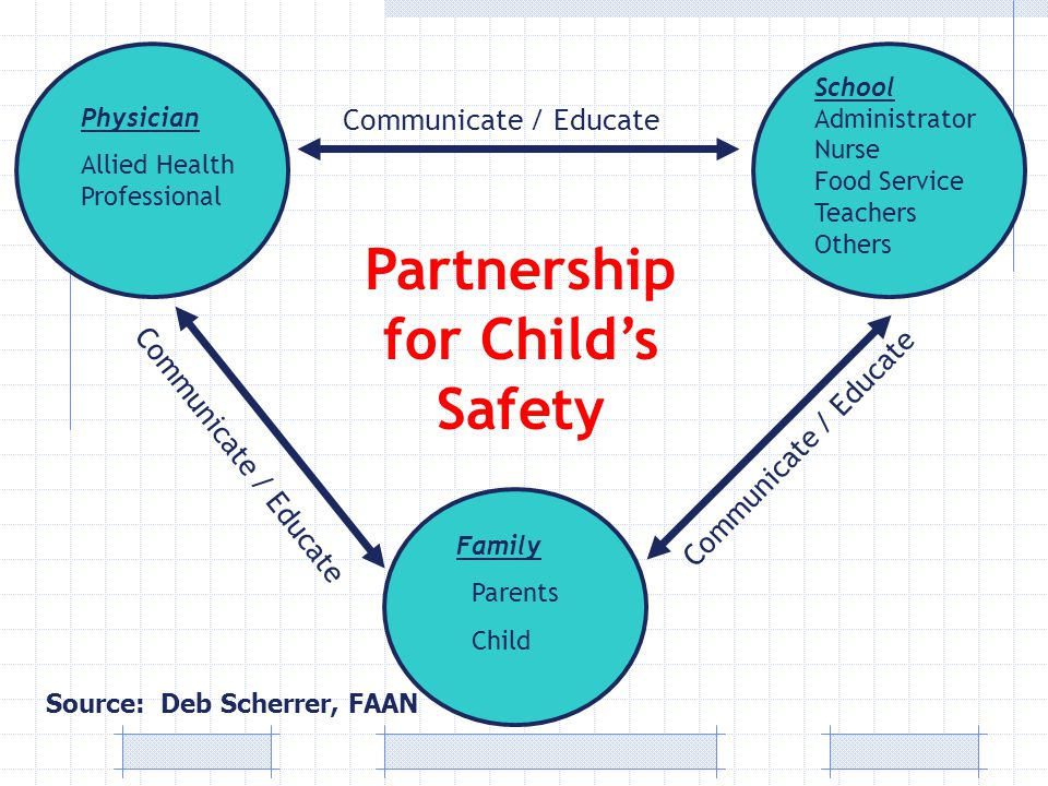 Partnership for Child's Safety Physician Allied Health Professional School Administrator Nurse Food Service Teachers Others Family Parents Child Communicate / Educate Source: Deb Scherrer, FAAN