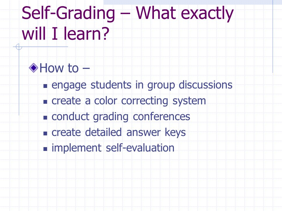 Self-Grading – What exactly will I learn.