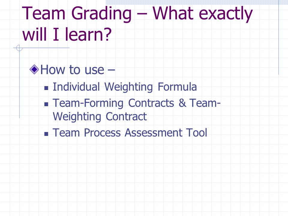 Team Grading – What exactly will I learn.