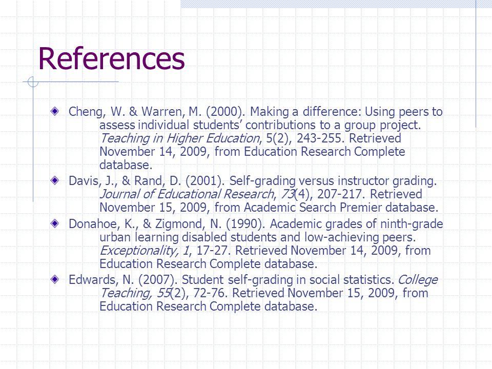 References Cheng, W. & Warren, M. (2000).