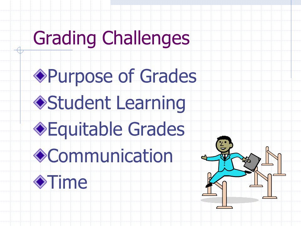 Grading Challenges Purpose of Grades Student Learning Equitable Grades Communication Time