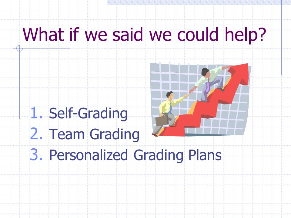 What if we said we could help 1. Self-Grading 2. Team Grading 3. Personalized Grading Plans