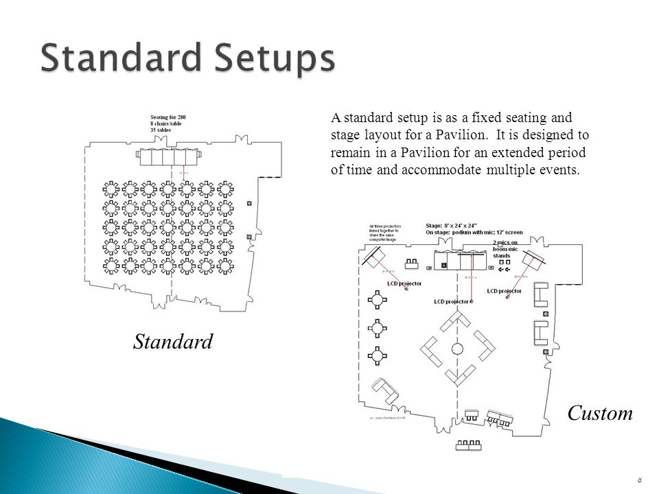 8 A standard setup is as a fixed seating and stage layout for a Pavilion.