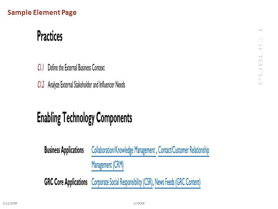 Sample Element Page 3/12/2009(c) OCEG