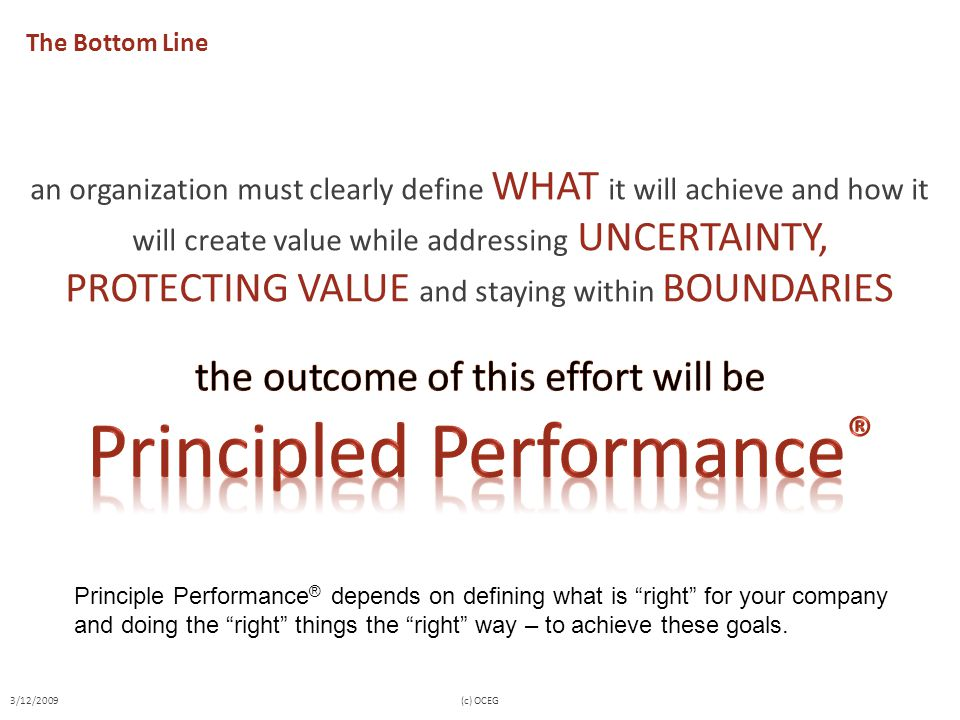The Bottom Line an organization must clearly define WHAT it will achieve and how it will create value while addressing UNCERTAINTY, PROTECTING VALUE a
