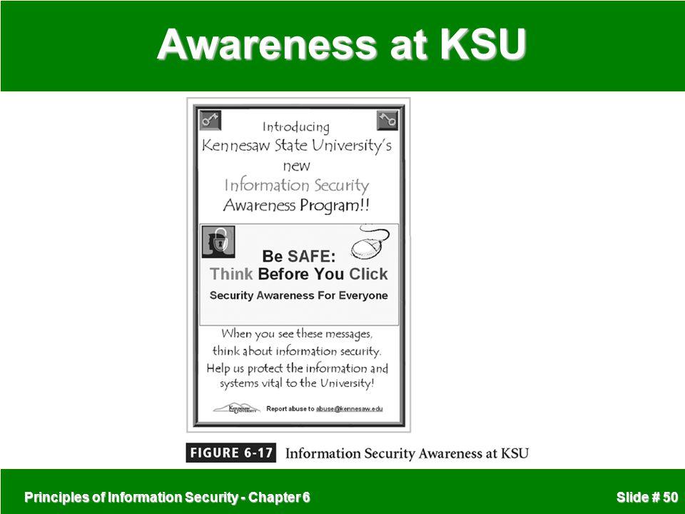 Principles of Information Security - Chapter 6 Slide # 50 Awareness at KSU