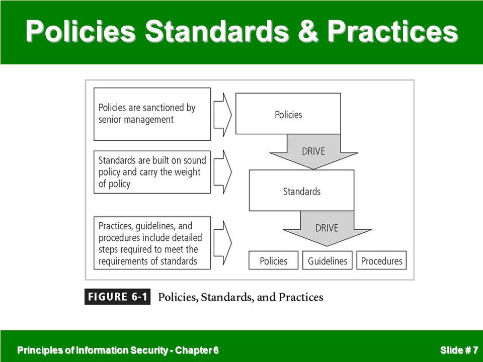 Principles of Information Security - Chapter 6 Slide # 7 Policies Standards & Practices
