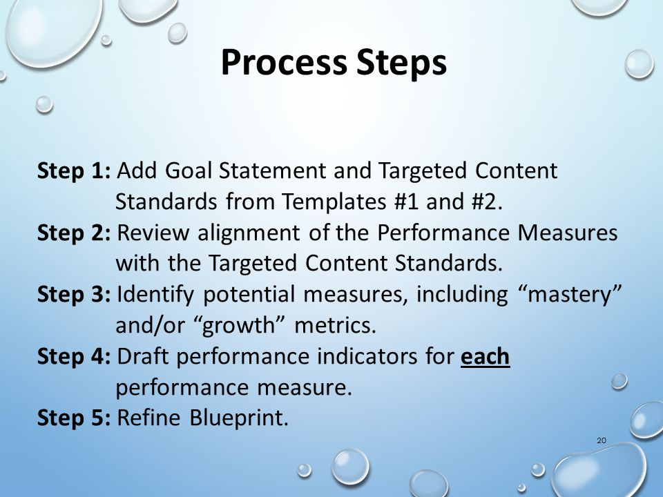 20 Process Steps Step 1: Add Goal Statement and Targeted Content Standards from Templates #1 and #2.
