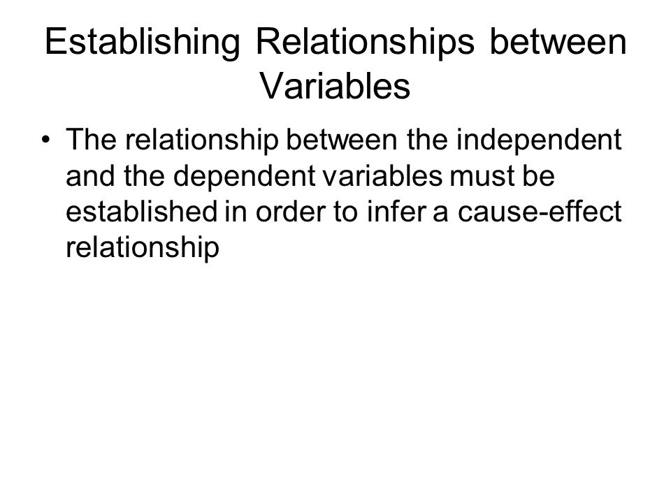Establishing Relationships between Variables The relationship between the independent and the dependent variables must be established in order to infe