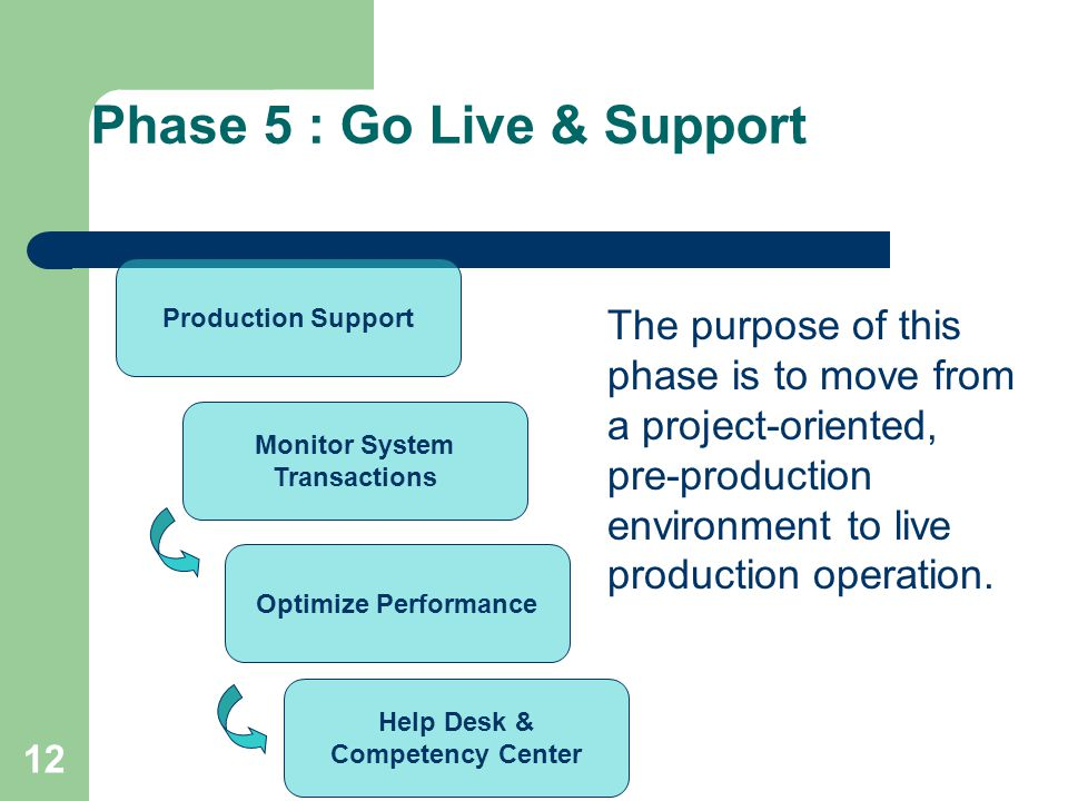 12 Phase 5 : Go Live & Support Production Support Monitor System Transactions Optimize Performance Help Desk & Competency Center The purpose of this phase is to move from a project-oriented, pre-production environment to live production operation.