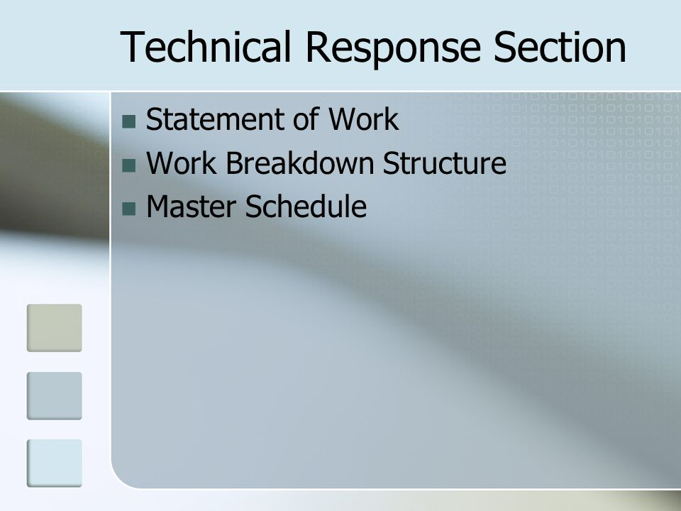 Technical Response Section Statement of Work Work Breakdown Structure Master Schedule