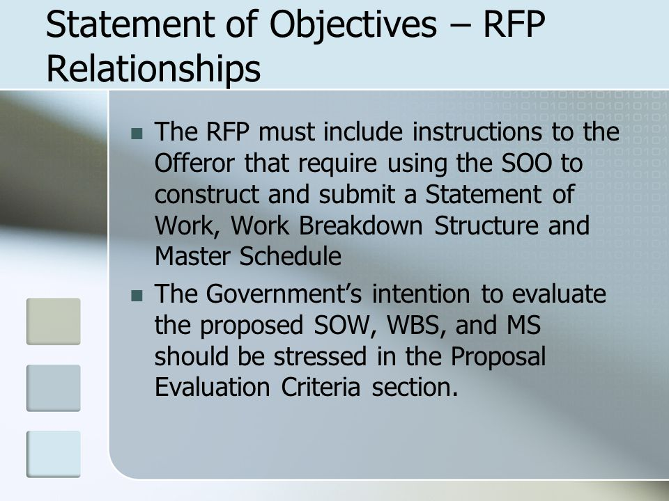Statement of Objectives – RFP Relationships The RFP must include instructions to the Offeror that require using the SOO to construct and submit a Stat
