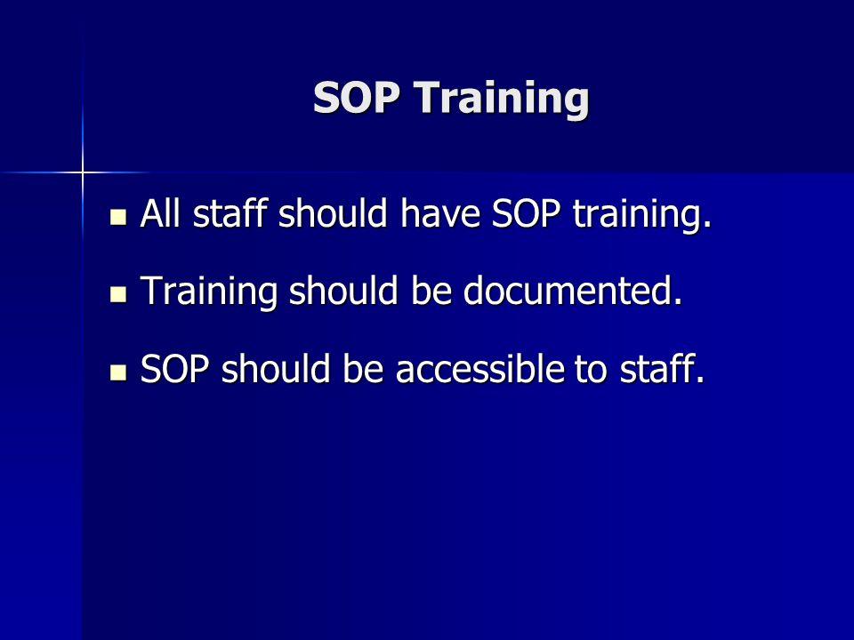 SOP Training All staff should have SOP training. All staff should have SOP training. Training should be documented. Training should be documented. SOP
