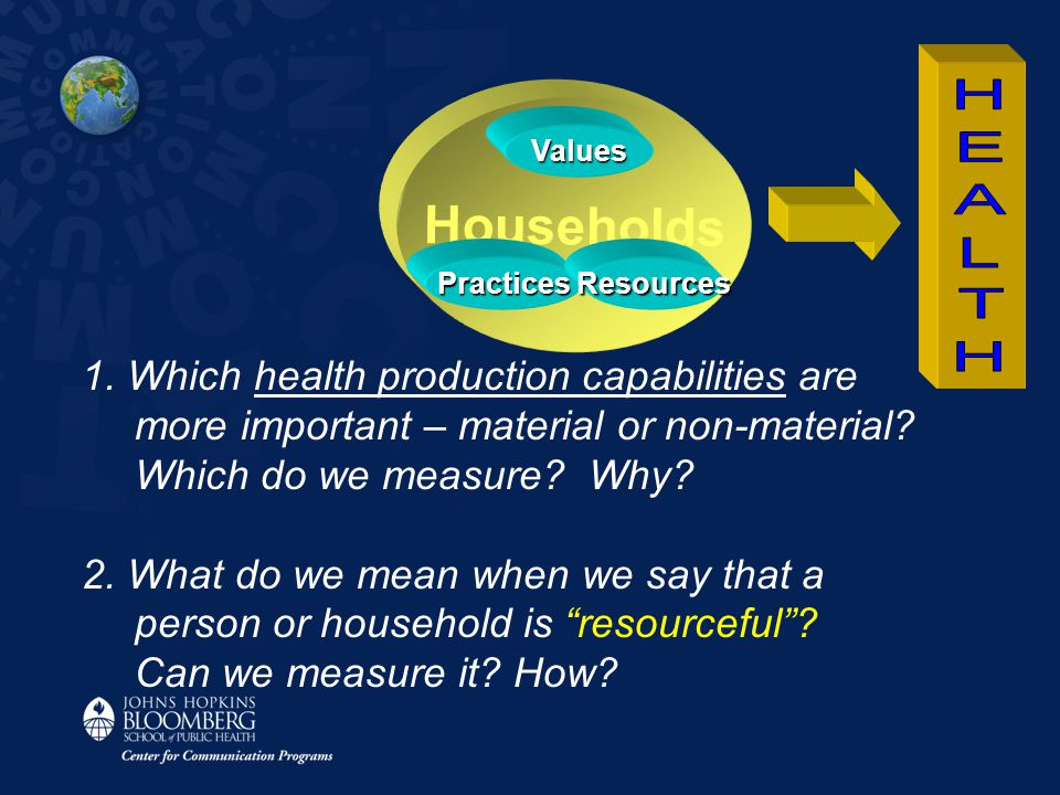 Households Values PracticesResources 1. Which health production capabilities are more important – material or non-material? Which do we measure? Why?