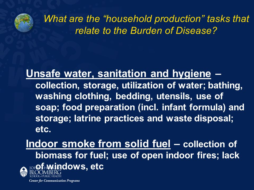 Unsafe water, sanitation and hygiene – collection, storage, utilization of water; bathing, washing clothing, bedding, utensils, use of soap; food prep