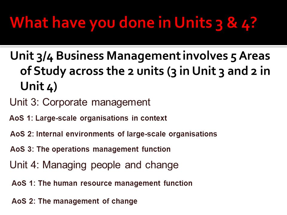 Unit 3/4 Business Management involves 5 Areas of Study across the 2 units (3 in Unit 3 and 2 in Unit 4) Unit 3: Corporate management AoS 1: Large-scal
