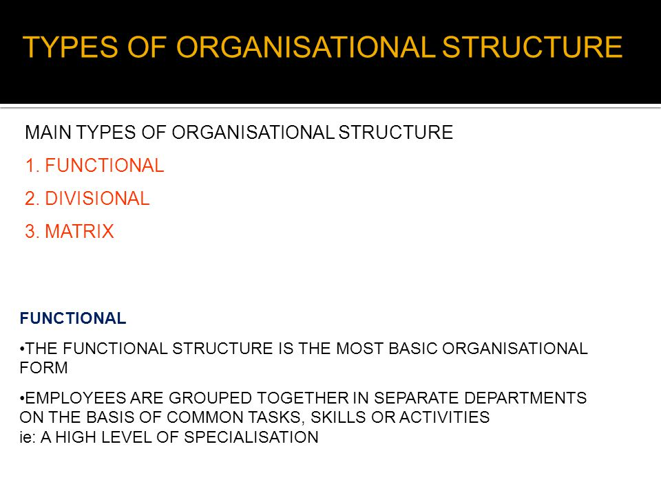 TYPES OF ORGANISATIONAL STRUCTURE MAIN TYPES OF ORGANISATIONAL STRUCTURE 1. FUNCTIONAL 2. DIVISIONAL 3. MATRIX FUNCTIONAL THE FUNCTIONAL STRUCTURE IS